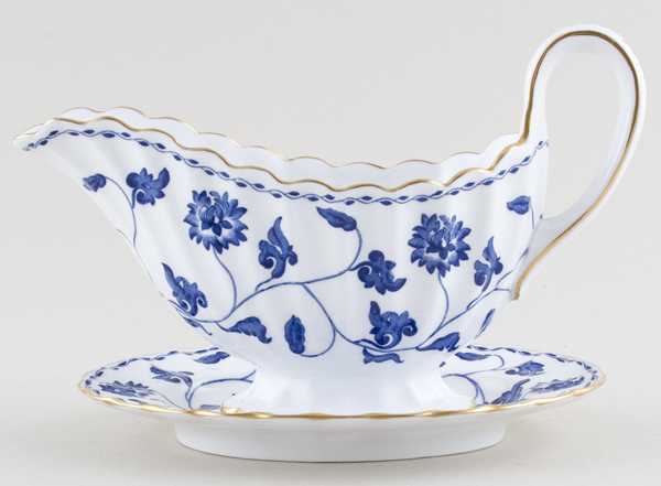 Spode Blue Colonel Sauce Boat and Stand c1960