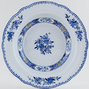 Spode Nigel blue with colour Soup Plate c1917
