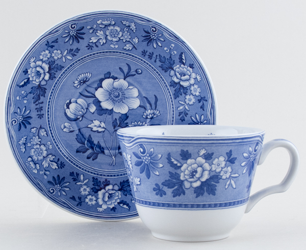 Spode Blue Room Cup and Saucer Botanical c1997