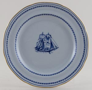 Spode Trade Winds Blue Plate Brig c1970s