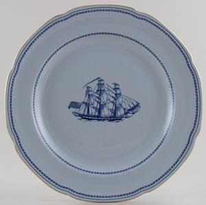 Spode Trade Winds Blue Plate Grand Turk c1970s