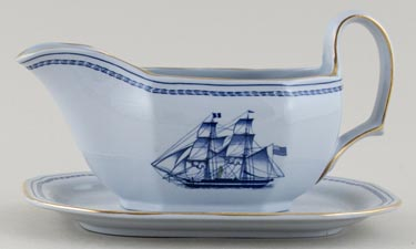 Spode Trade Winds Blue Sauce Boat and Stand c1970