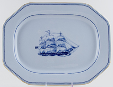 Spode Trade Winds Blue Meat Dish or Platter Ship Albus c1970s