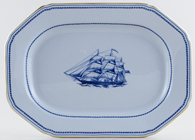 Spode Trade Winds Blue Meat Dish or Platter Ship Pepperell c1970s
