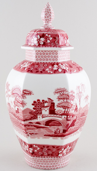 Spode Tower pink Vase with cover large c1980
