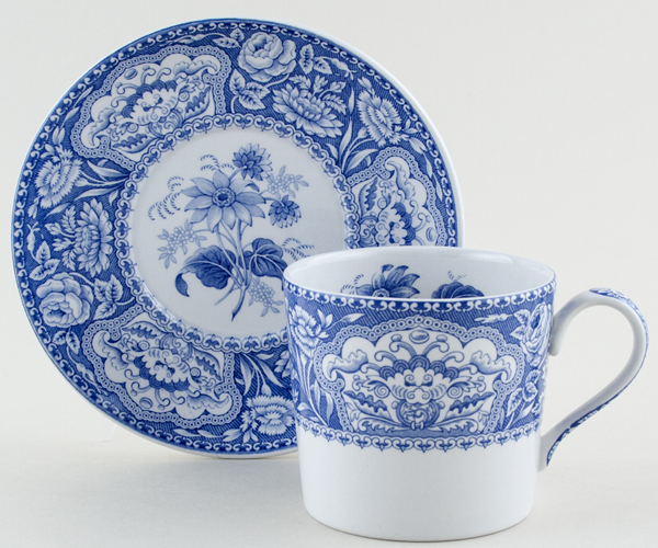 Spode Blue Room Mup and Saucer Floral c1999