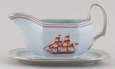Spode Trade Winds Red Sauce Boat and Stand Olive of Newbury c1970s