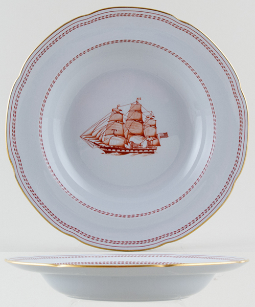 Spode Trade Winds Red Dessert or Small Soup Plate White Diamond Liner c1970s