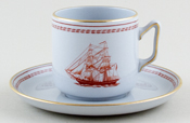 Spode Trade Winds Red Coffee Cup and Saucer Brig Eliza c1970s