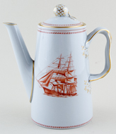 Spode Trade Winds Red Coffee Pot Glory of The Seas c1970
