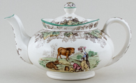 Spode Byron brown with colour Teapot c1930s