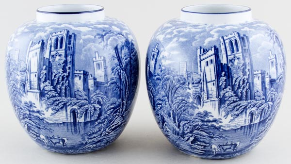 Tams Ye Olde Priory Pair of Vases c1930