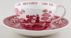 Spode Tower pink Cup and Saucer Jumbo Auld Lang Syne c1950s