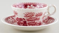 Spode Tower pink Teacup and Saucer c1950s