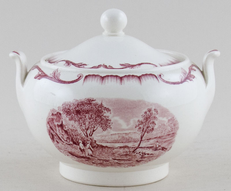 Wedgwood Salvator plum Sugar with Cover c1920s