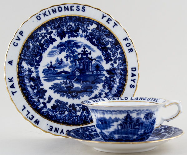Wedgwood Chinese Cup, Saucer and Plate Auld Lang Syne c1910