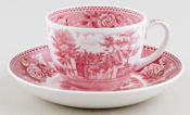 Wedgwood Old Avery Homestead pink Teacup and Saucer c1962