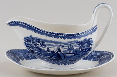 Wedgwood Landscape Sauce Boat and Stand c1954