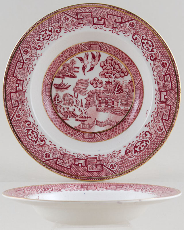 Washington Old Willow pink Soup Plate c1960s