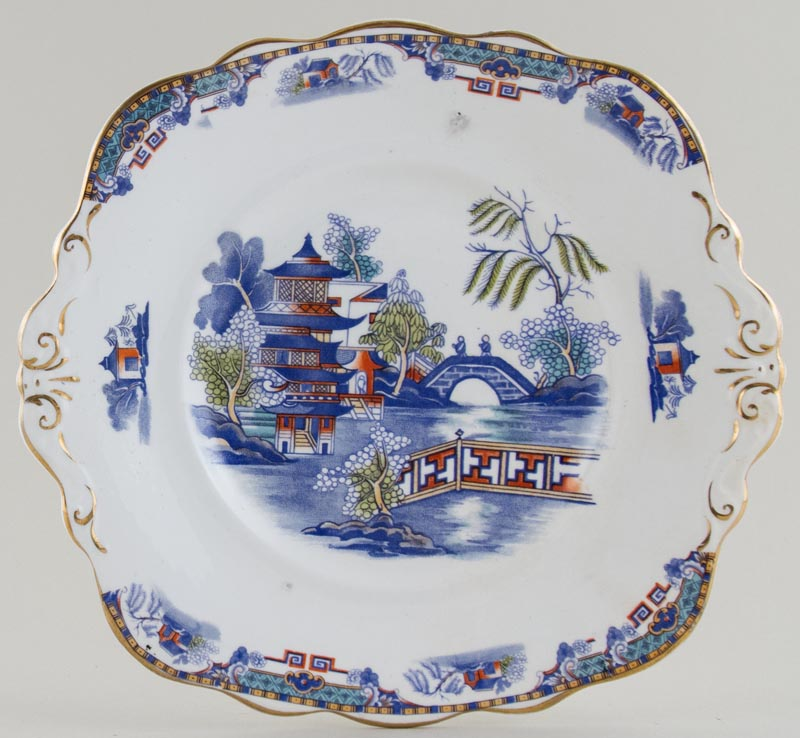 Taylor and Kent Two Temples blue with colour Cake Plate c1900