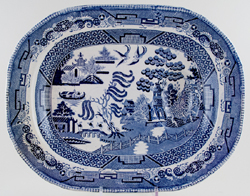 Unattributed Maker Willow Meat Dish or Platter with tree and well c1840