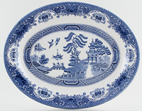 English Ironstone Tableware Willow Meat Dish or Platter c1990