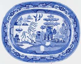 Unattributed Maker Willow Meat Dish or Platter c1850