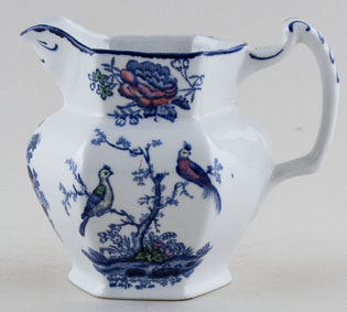 Woods Oriental Birds blue with colour Jug or Pitcher c1920s
