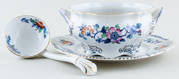 Woods Mayfair blue with colour Sauce Tureen c1920s