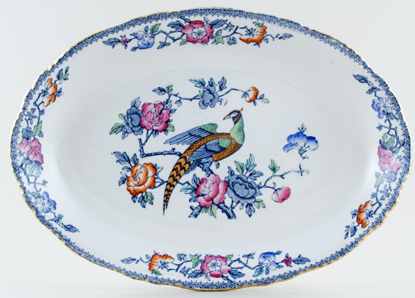 Woods Mayfair blue with colour Meat Dish or Platter c1920s