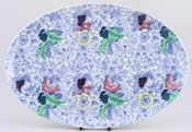 Woolworth Brocade blue with colour Dressing Table Tray c1930s