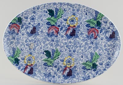 Woolworth Brocade blue with colour Dressing Table Tray c1920s