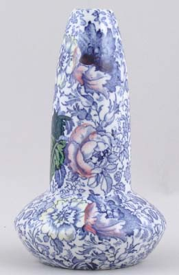 Woolworth Brocade blue with colour Vase c1920s