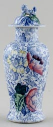 Woods Brocade blue with colour Vase with Cover c1920s