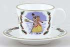 Royal Worcester Christmas colour Miniature Cup and Saucer c1982
