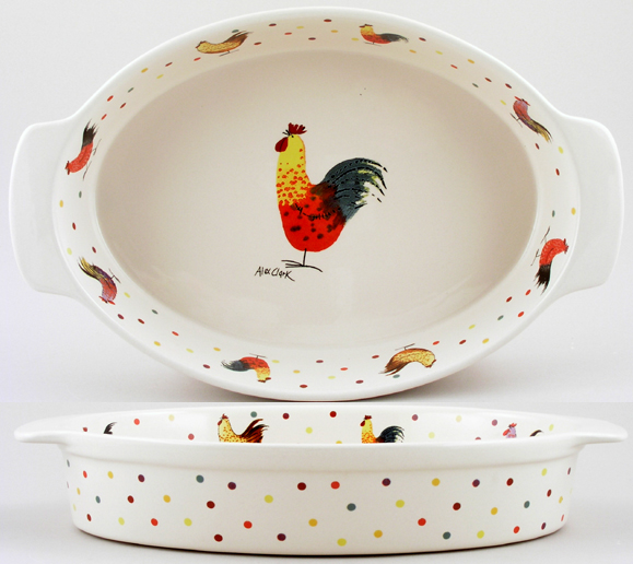Queens Alex Clark Rooster colour Roaster oval ovenproof