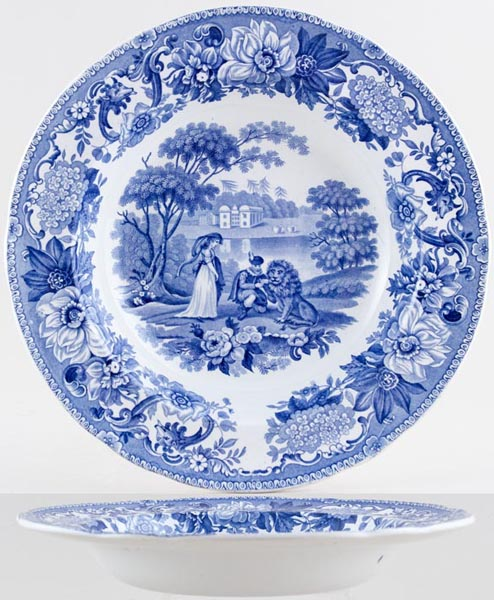 Spode Aesops Fables Soup Plate The Lion in Love c1840