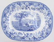 Meat Dish or Platter with tree and well c1860