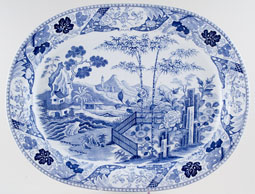 Wedgwood Blue Palisade Meat Dish or Platter c1825