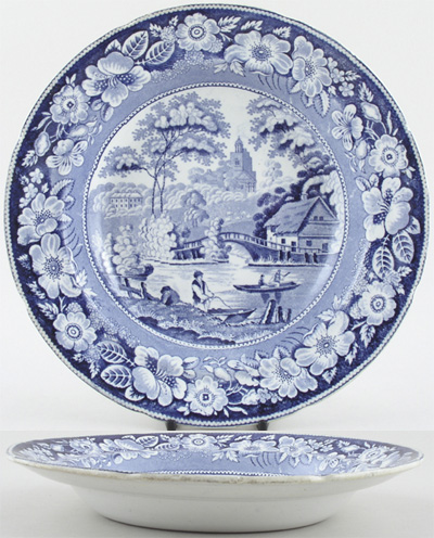 Podmore Walker Wild Rose Soup Plate c1840