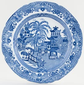 Cambrian Pottery Pagoda and Palms Plate c1825