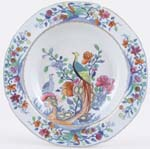 Spode Pheasant blue with colour Soup Plate c1820