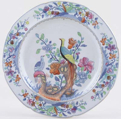 Spode Pheasant blue with colour Plate c1820