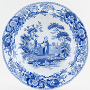 Spode Girl at Well Soup Plate c1825