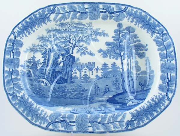 Davenport Bisham Abbey Meat Dish or Platter with tree and well c1825