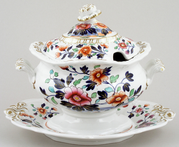 Ridgway Unidentified Pattern colour Sauce Tureen c1830