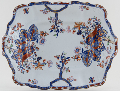 Spode Cabbage blue with colour Dish c1833