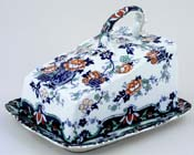 Unattributed Maker Unidentified Pattern blue with colour Cheese Dish c1895