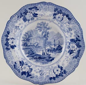 Wood and Challinor Continental Views Series Soup Plate Castle of Chillon c1835