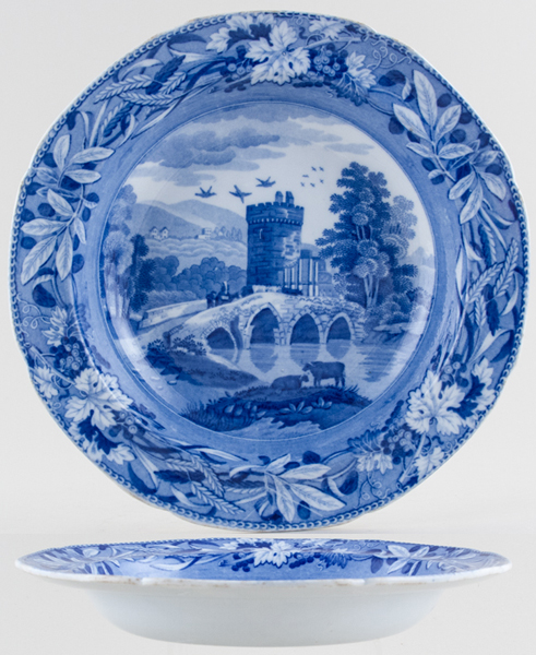 Spode Bridge of Lucano Soup Plate c1825